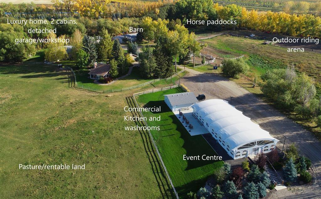 Commercial Event Centre (or other use of your choice), Luxury home with attached garage, 2 guest homes, detached garage/shop, barn - all on 40 acres of extremely well cared for property.