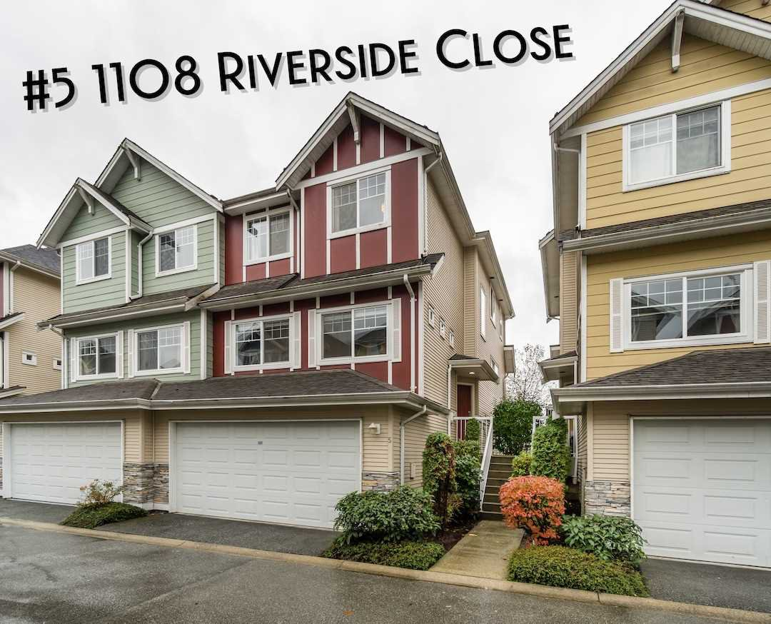 "Main Photo: 5 1108 RIVERSIDE Close in Port Coquitlam: Riverwood Townhouse for sale in ""Heritage Meadows"" : MLS®# R2414936"