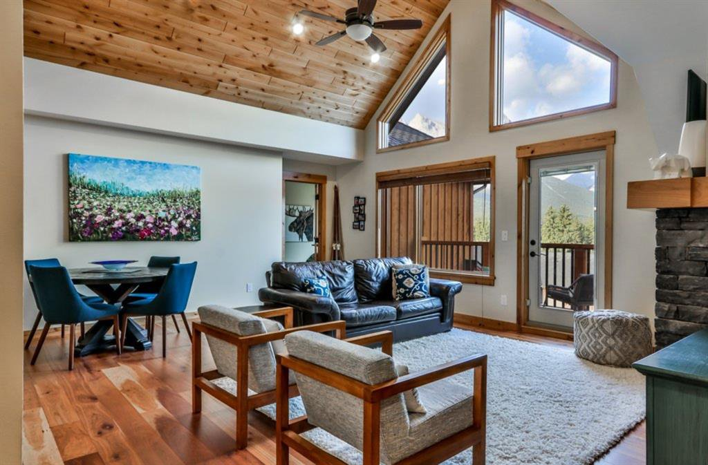 Vaulted ceilings & large windows offer so much light & mountain vistas.