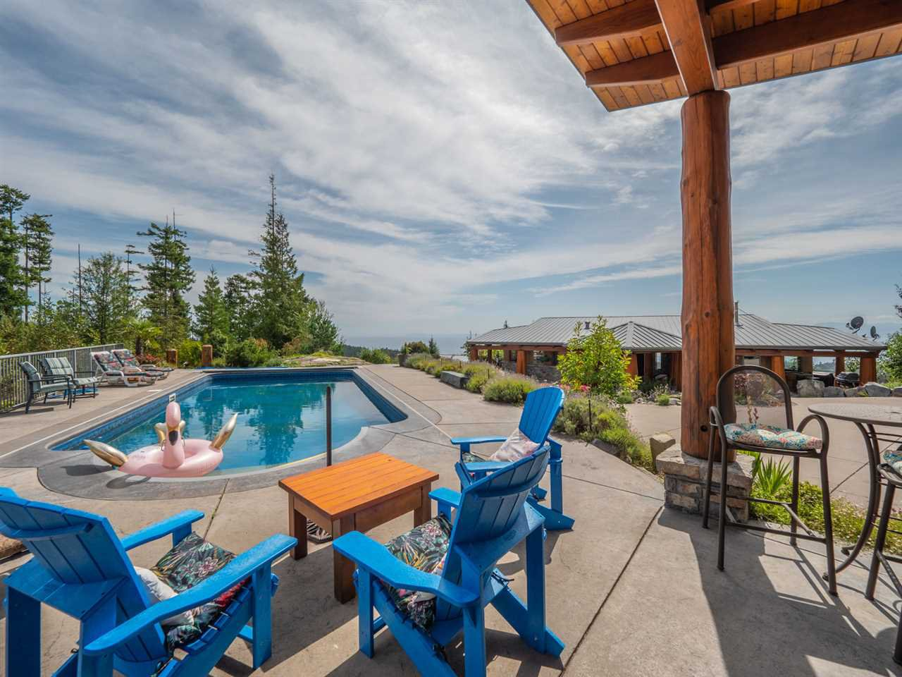 This property is stunning from the outdoor salt water pool to the entertainment cabana, to the cedar timberframe 2 level home to the amazing 600 sq ft shop with its own deck and ocean view!