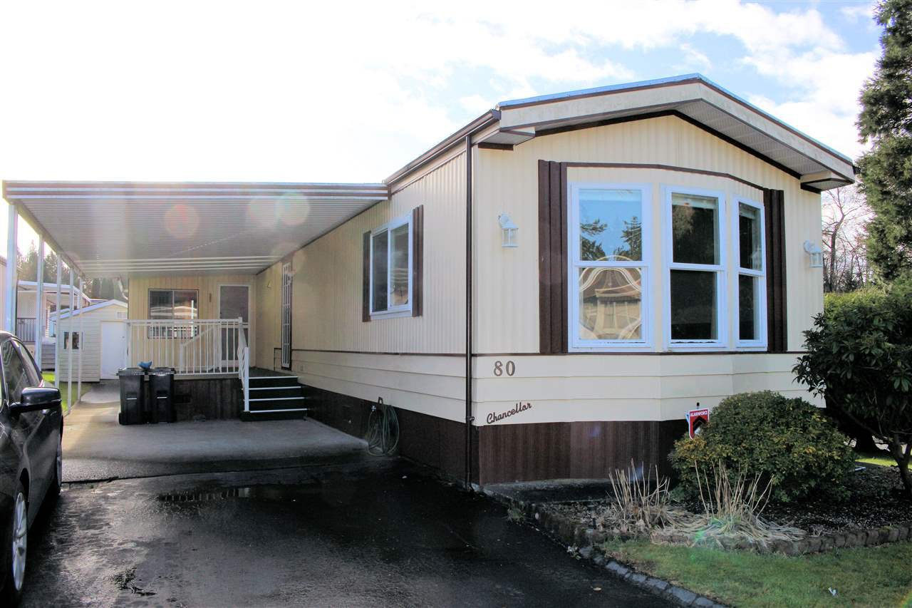 """Main Photo: 80 2315 198 Street in Langley: Brookswood Langley Manufactured Home for sale in """"Deer Creek Estates"""" : MLS®# R2520416"""