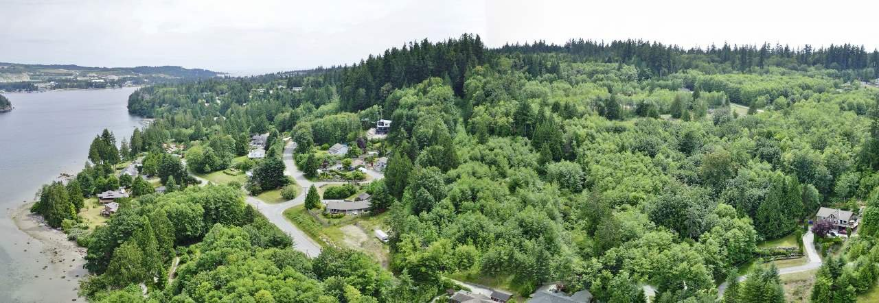 Aerial views of property looking South towards Sechelt.