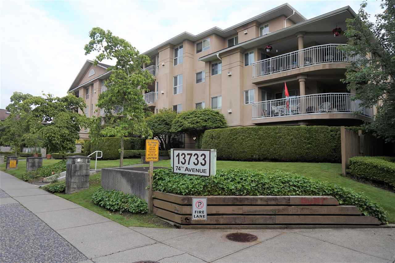 "Main Photo: 205 13733 74 Avenue in Surrey: East Newton Condo for sale in ""KINGS COURT"" : MLS®# R2465074"