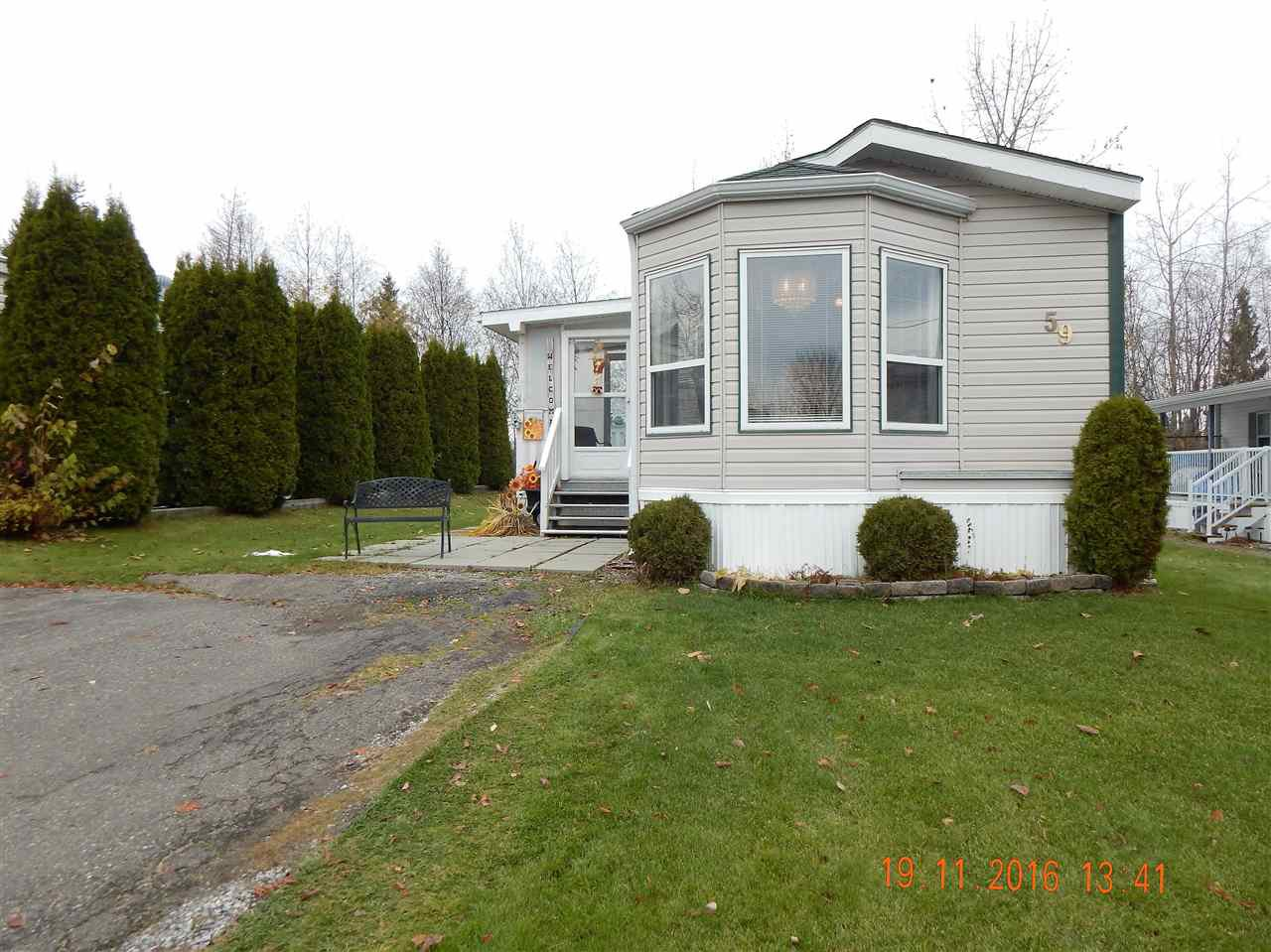 Main Photo: 59 1000 INVERNESS Road in Prince George: Aberdeen PG Manufactured Home for sale (PG City North (Zone 73))  : MLS®# R2118072