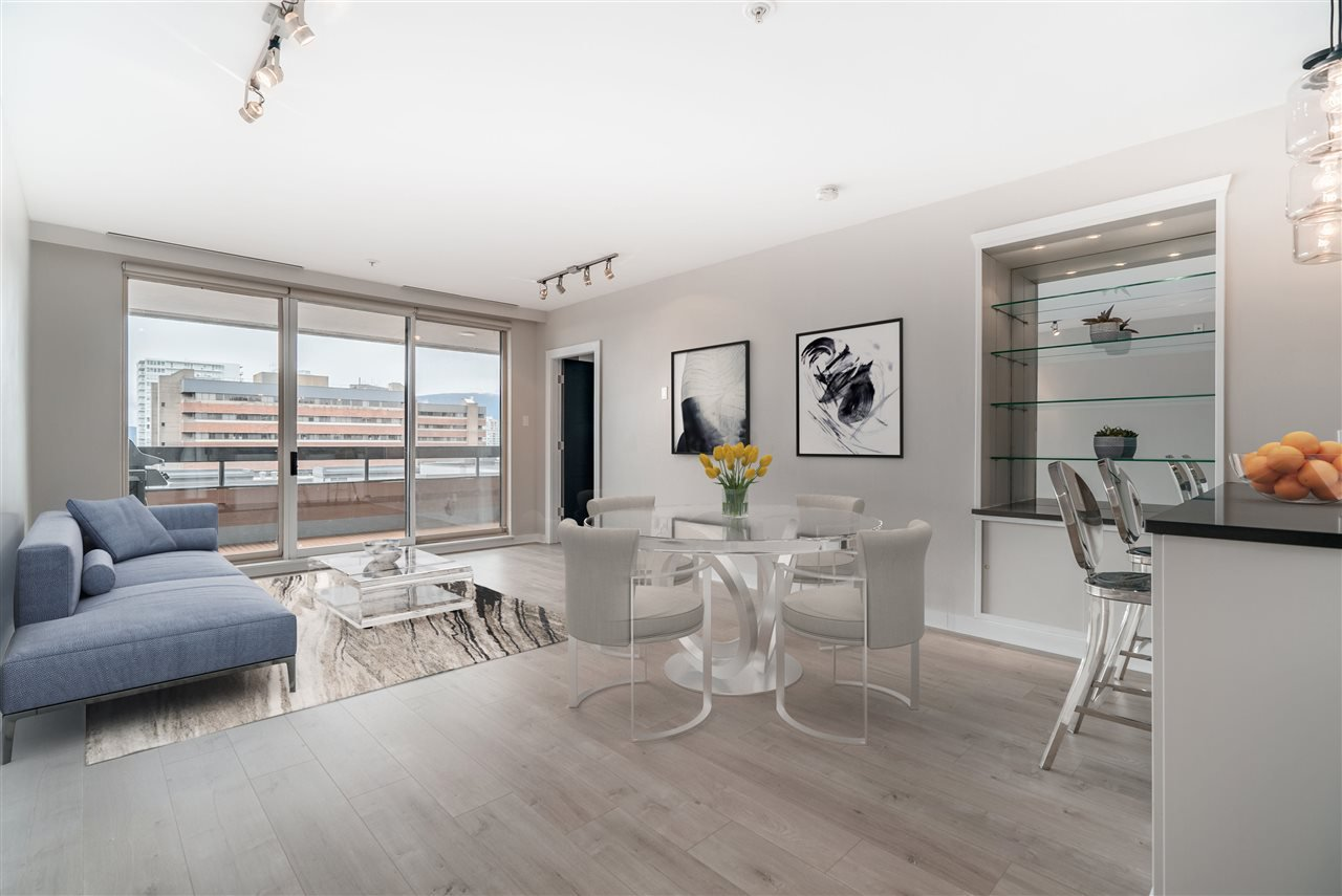 Virtual Staging of the living room at 1177 Hornby