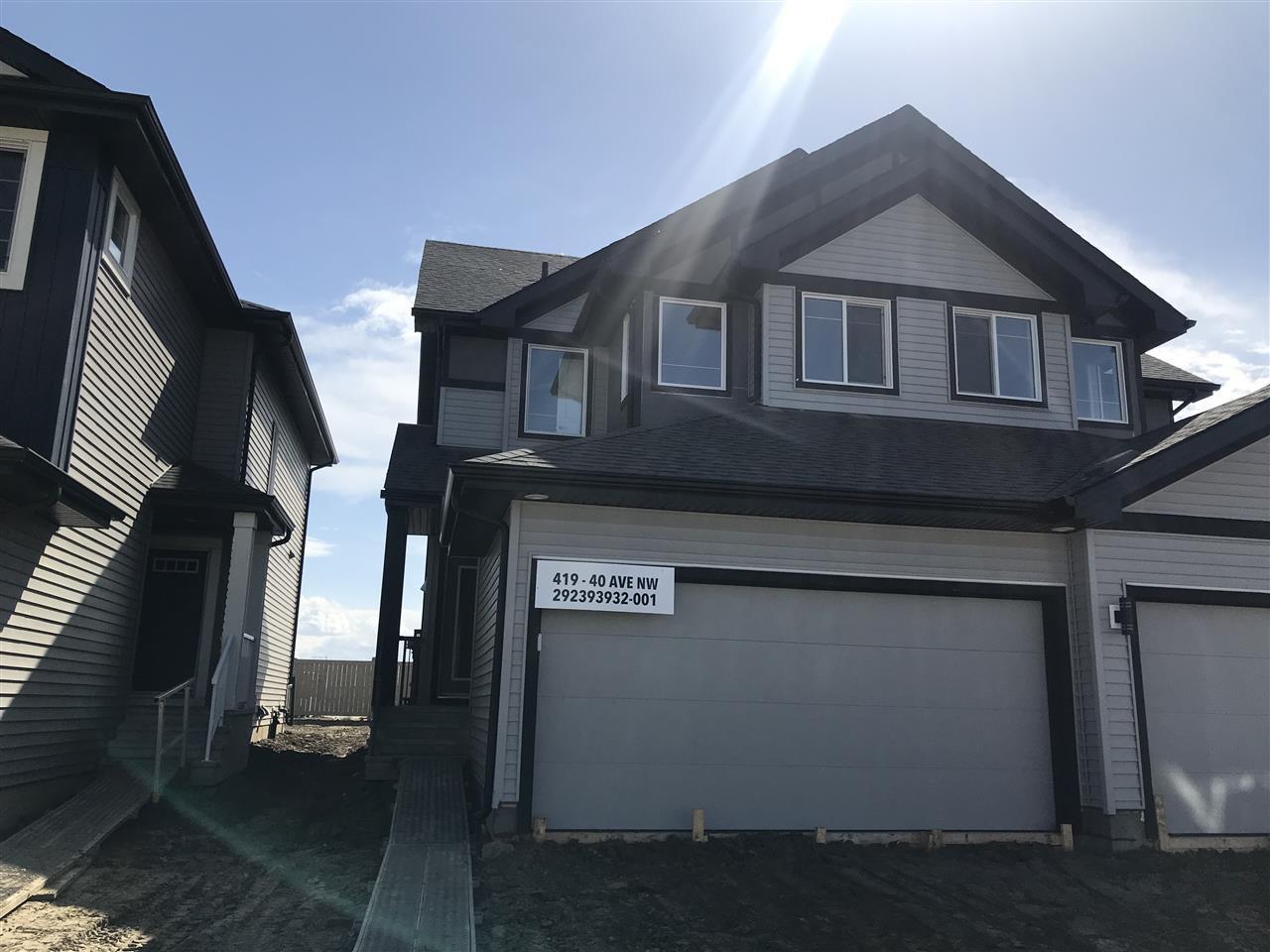 Main Photo: 419 40 Avenue in Edmonton: Zone 30 House Half Duplex for sale : MLS®# E4156561