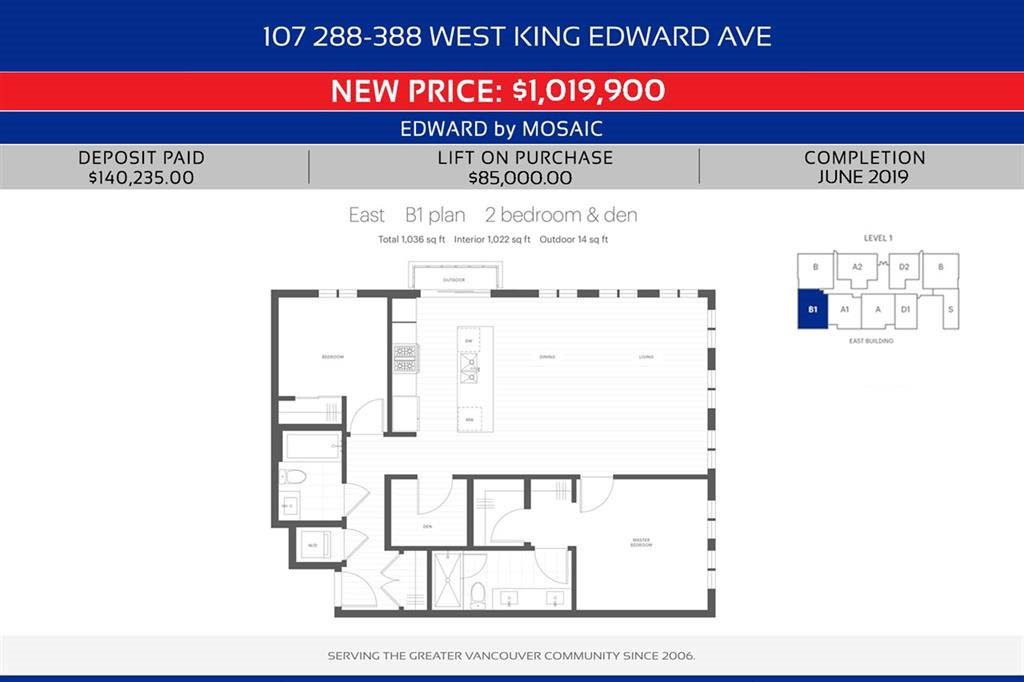 "Main Photo: 107 288 W KING EDWARD Avenue in Vancouver: Cambie Condo for sale in ""EDWARD BY MOSAIC"" (Vancouver West)  : MLS®# R2351404"