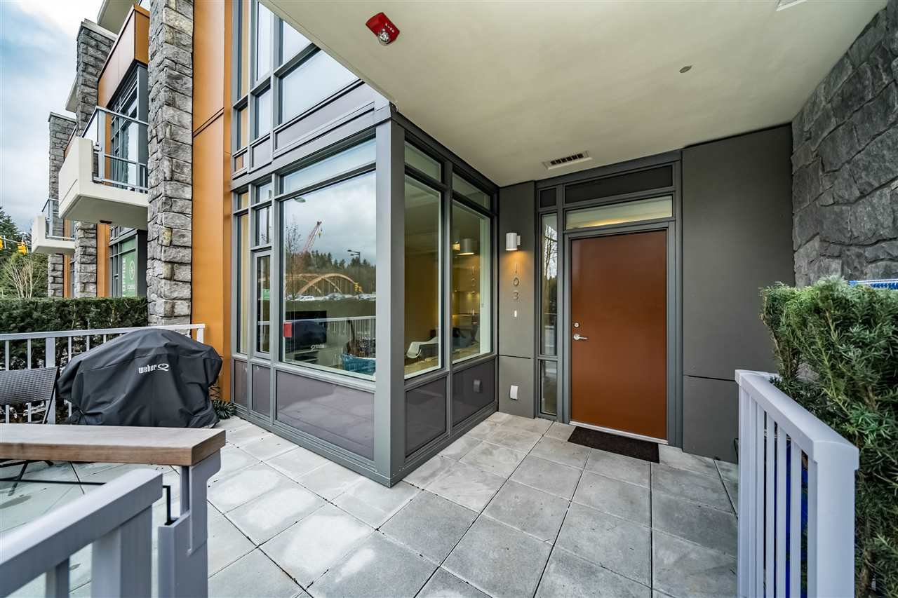 "Main Photo: 103 680 SEYLYNN Crescent in North Vancouver: Lynnmour Townhouse for sale in ""Compass at Seylynn Village"" : MLS®# R2449318"