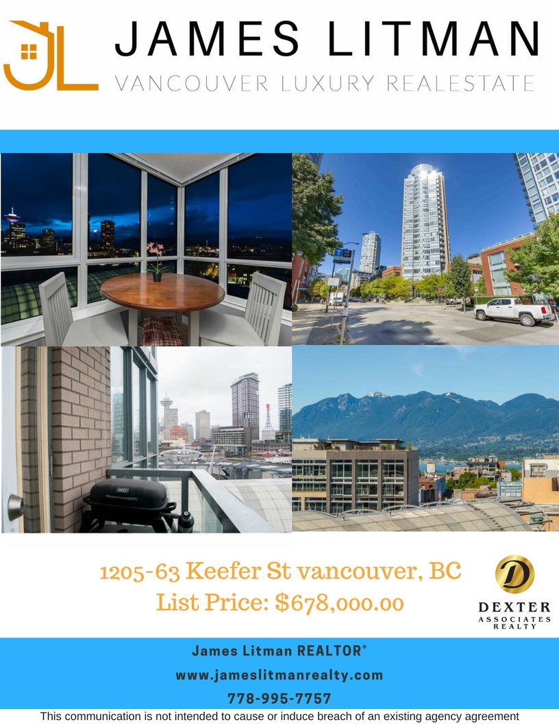 Main Photo: 1205 63 Keefer Street in Vancouver: Downtown VW Condo for sale (Vancouver West)  : MLS®# R2256709