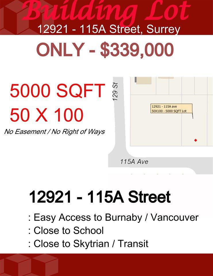 Main Photo: 12921 115A Street in Surrey: Bridgeview Land for sale (North Surrey)  : MLS®# R2425375