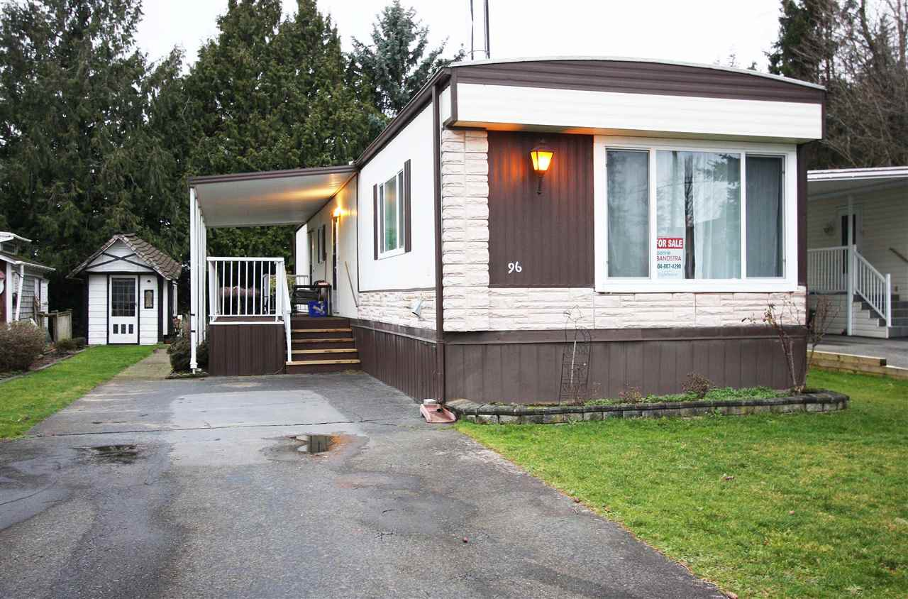 "Main Photo: 96 27111 0 Avenue in Langley: Aldergrove Langley Manufactured Home for sale in ""Pioneer Park"" : MLS®# R2433211"