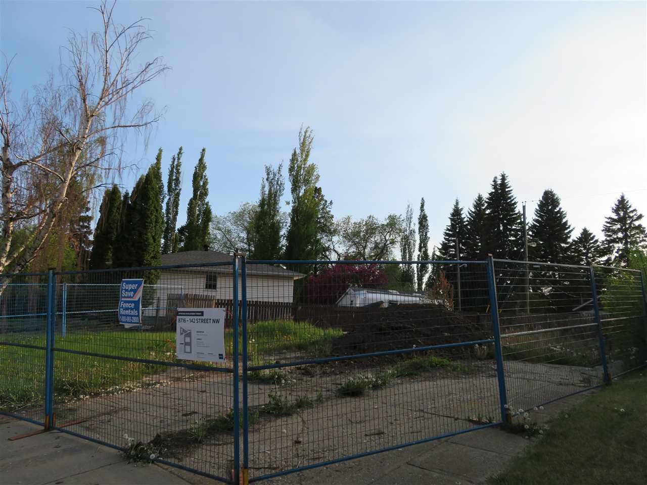 Main Photo: 8716 142 Street in Edmonton: Zone 10 Vacant Lot for sale : MLS®# E4176276