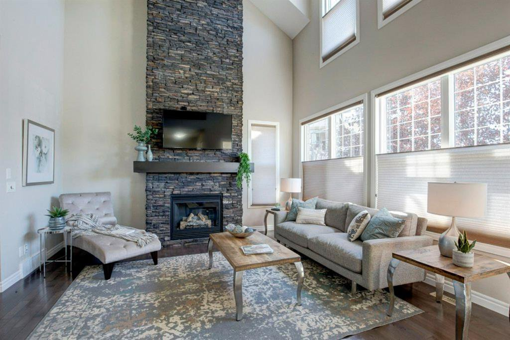 Stone fireplace and soaring ceiling height