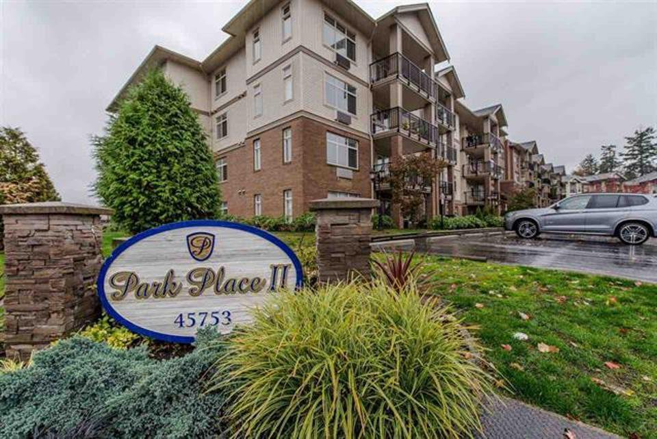 "Main Photo: 105 45753 STEVENSON Road in Sardis: Sardis East Vedder Rd Condo for sale in ""Park Place II"" : MLS®# R2375433"