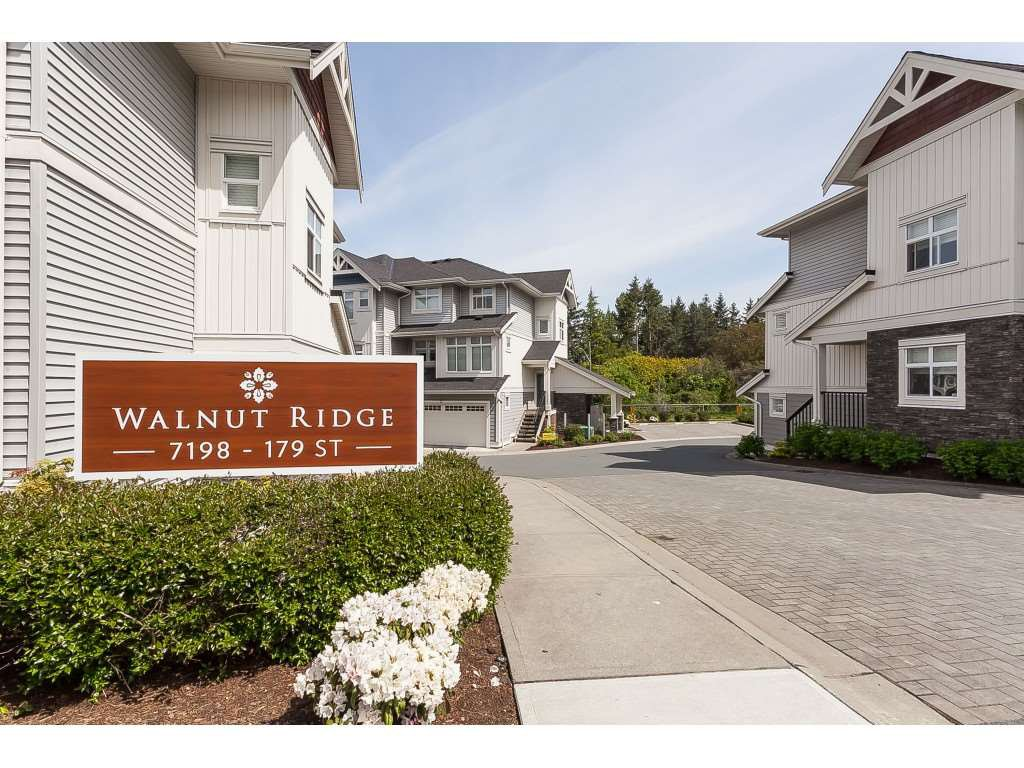 "Main Photo: 11 7198 179 Street in Surrey: Cloverdale BC Townhouse for sale in ""WALNUTRIDGE"" (Cloverdale)  : MLS®# R2366816"