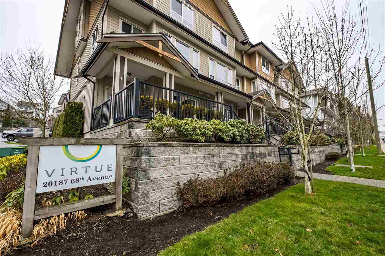 "Main Photo: 4 20187 68TH Avenue in Langley: Willoughby Heights Townhouse for sale in ""Virtue"" : MLS®# R2443167"