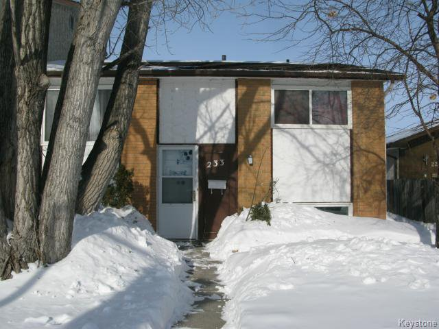 Main Photo: 233 Adsum Drive in WINNIPEG: Maples / Tyndall Park Single Family Attached for sale (North West Winnipeg)  : MLS®# 1402974