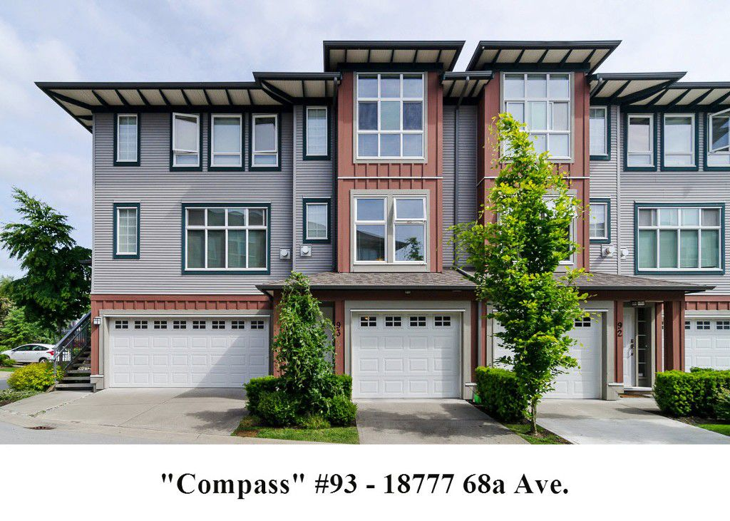 "Main Photo: 93 18777 68A Avenue in Surrey: Clayton Townhouse for sale in ""COMPASS"" (Cloverdale)  : MLS®# F1412670"