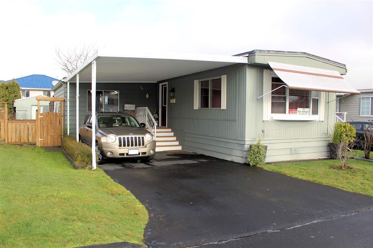 "Main Photo: 74 8254 134 Street in Surrey: West Newton Manufactured Home for sale in ""Westwood"" : MLS®# R2320514"