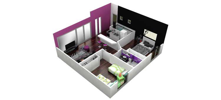 2 bedroom 3D floorplan