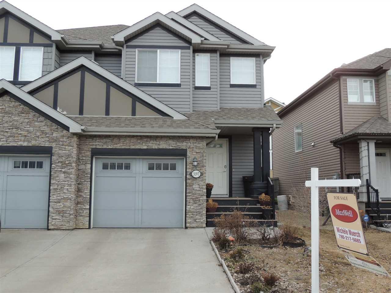 Main Photo: 3197 WHITELAW Drive in Edmonton: Zone 56 House Half Duplex for sale : MLS®# E4145136
