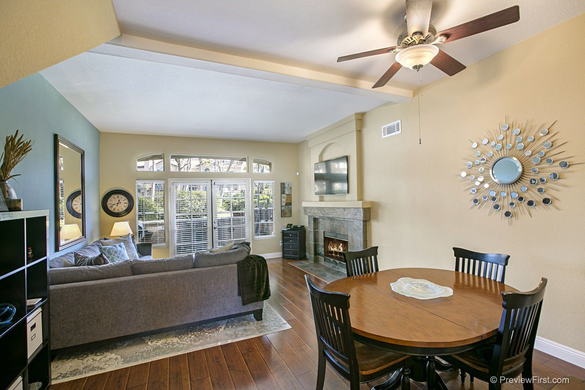 Open floor plan with living and dining room combination
