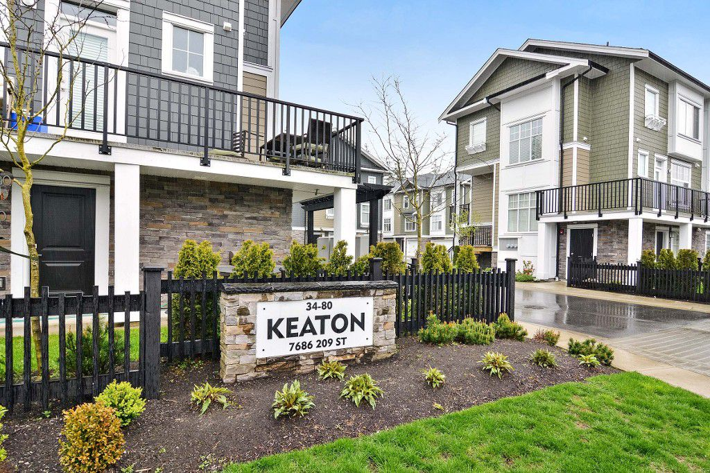 "Main Photo: 75 7686 209 Street in Langley: Willoughby Heights Townhouse for sale in ""KEATON"" : MLS®# R2161905"