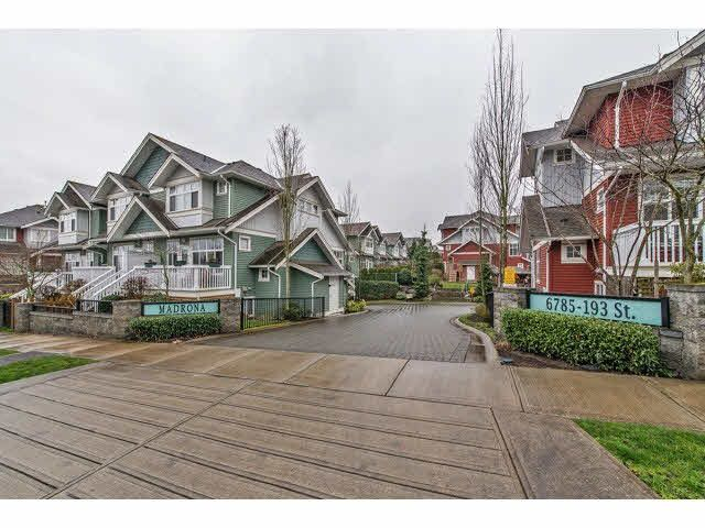 "Main Photo: 45 6785 193 Street in Surrey: Clayton Townhouse for sale in ""MADRONA"" (Cloverdale)  : MLS®# F1433351"