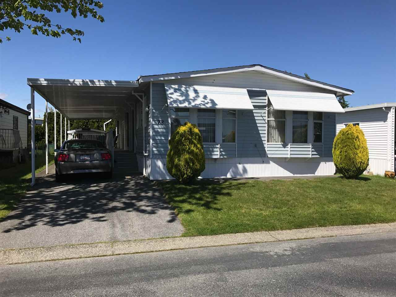 "Main Photo: 78 2303 CRANLEY Drive in Surrey: King George Corridor Manufactured Home for sale in ""Sunnyside"" (South Surrey White Rock)  : MLS®# R2169430"