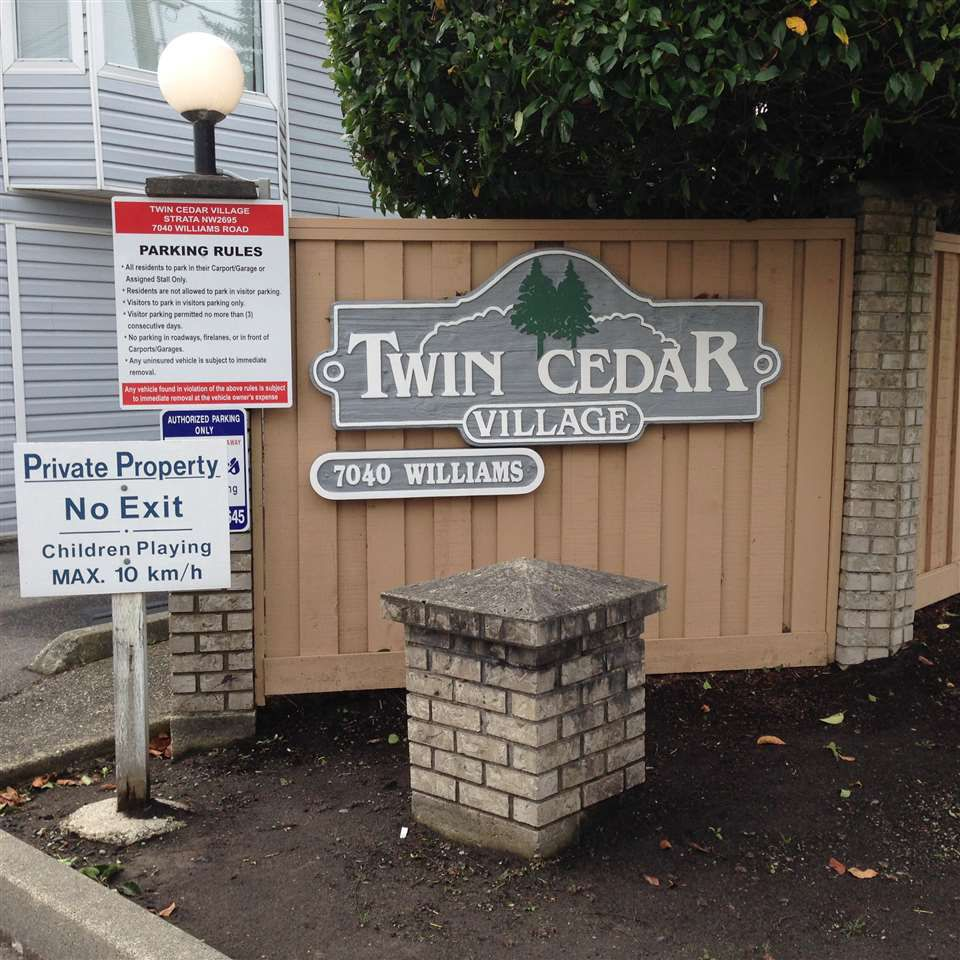 "Main Photo: 9 7040 WILLIAMS Road in Richmond: Broadmoor Townhouse for sale in ""Twin Cedar"" : MLS®# R2110447"