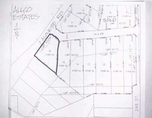 Main Photo: LOT 16 ALOUETTE RD in Maple Ridge: Websters Corners Home for sale : MLS®# V208907