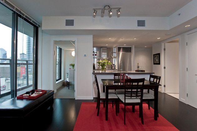 Dining Room : Dark Wide Plank Hardwood Flooring
