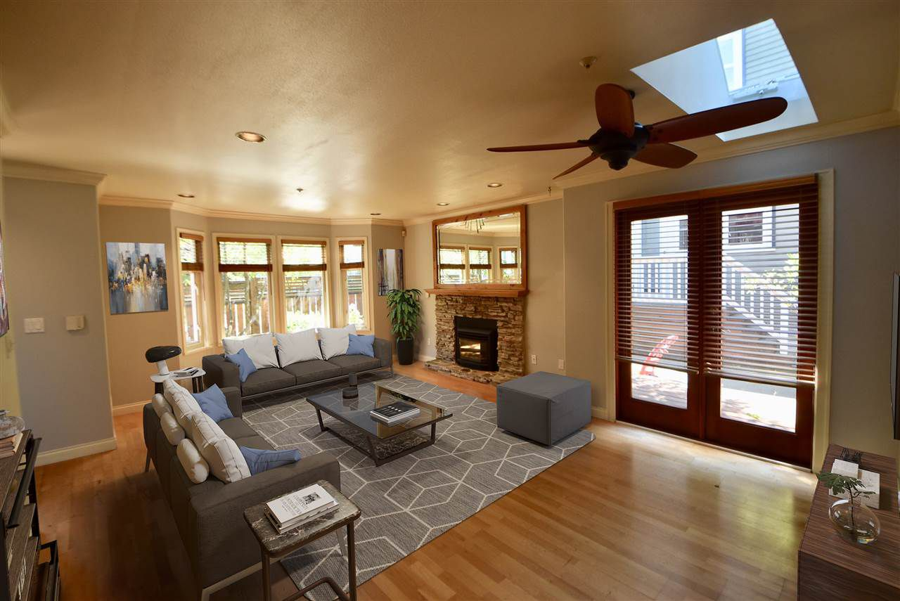 Virtually staged - Living and dining room w/access to 2nd deck