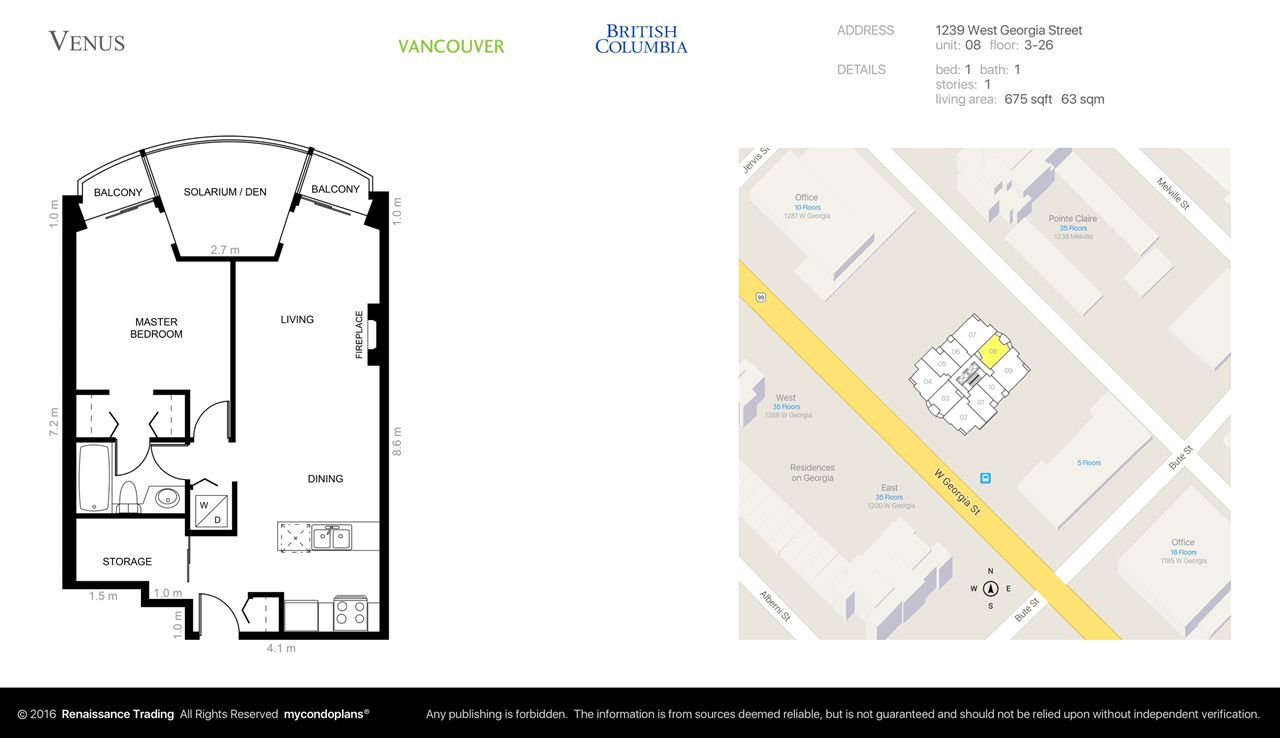Main Photo: 1708 1239 W GEORGIA Street in Vancouver: Coal Harbour Condo for sale (Vancouver West)  : MLS®# R2340000
