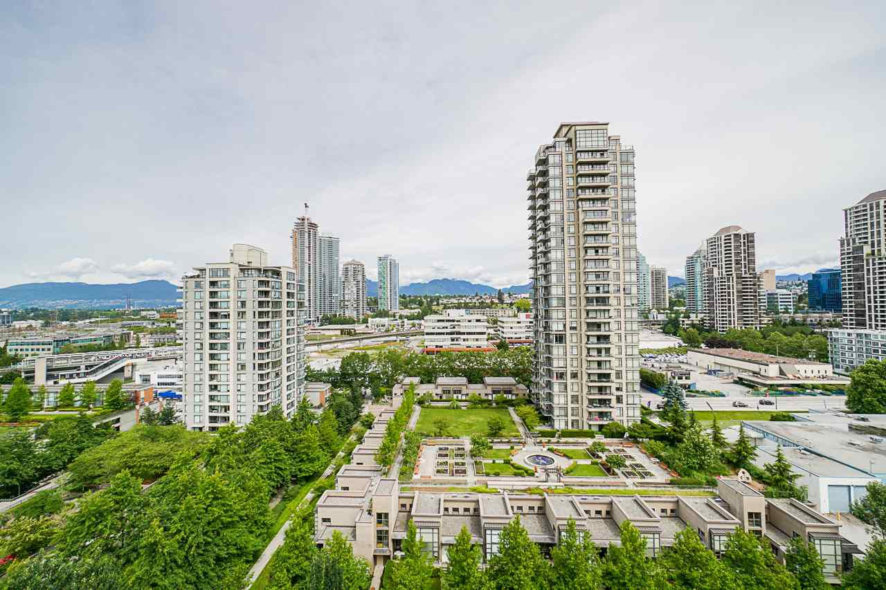 Great separation from major roads but just a few minutes walk to the SkyTrain and other amenities. Looking down on the roof-top decks of neighbouring buildings with landscaped gardens and fountains. The North Shore Mountains are a year round delight.