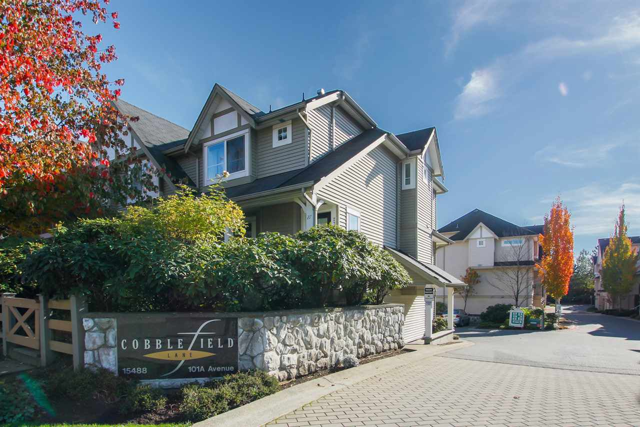 "Main Photo: 34 15488 101A Avenue in Surrey: Guildford Townhouse for sale in ""COBBLEFIELD LANE"" (North Surrey)  : MLS®# R2314659"
