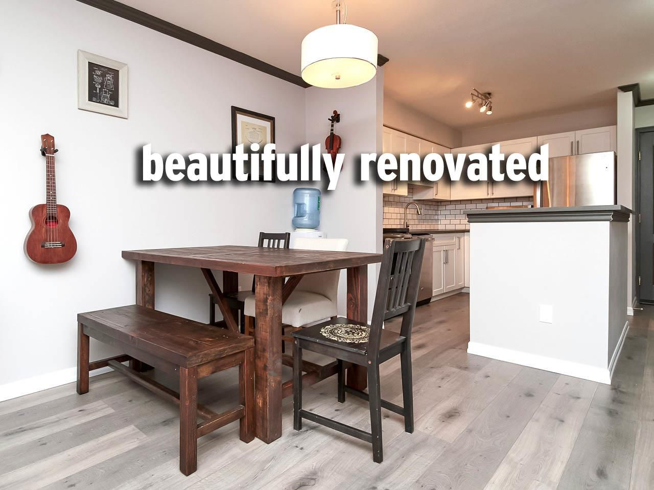 This cosy apartment has been completely redone from the crown molding to the new flooring.