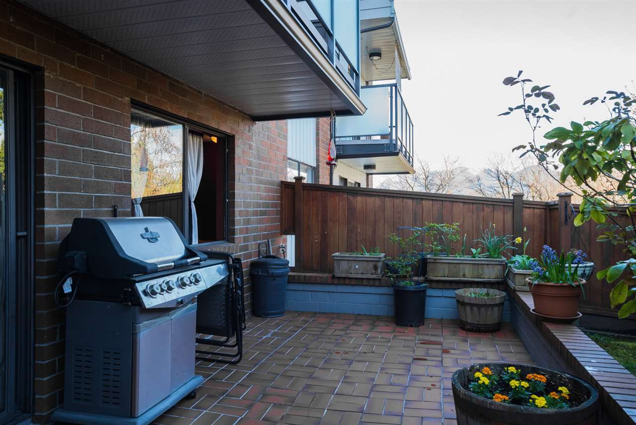 """9'11"""" x 21'10"""" Patio that is really secure and on the 2nd floor of the building. 234 sq ft of space to soak up the sunshine."""