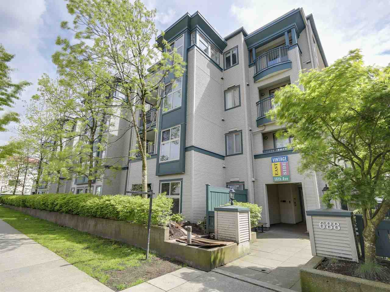 "Main Photo: 209 688 E 16TH Avenue in Vancouver: Fraser VE Condo for sale in ""VINTAGE EASTSIDE"" (Vancouver East)  : MLS®# R2168610"