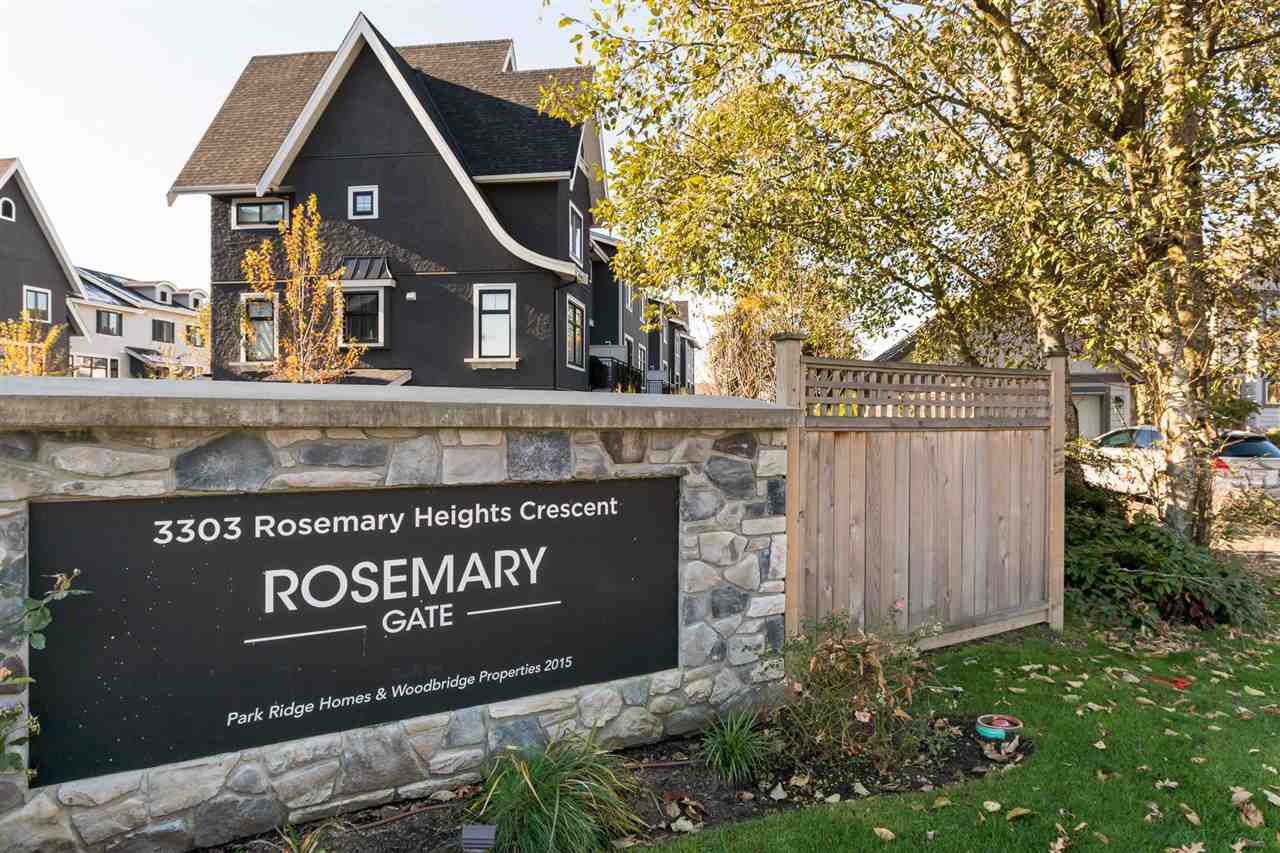 "Main Photo: 14 3303 ROSEMARY HEIGHTS Crescent in Surrey: Morgan Creek Townhouse for sale in ""ROSEMARY GATE"" (South Surrey White Rock)  : MLS®# R2220294"