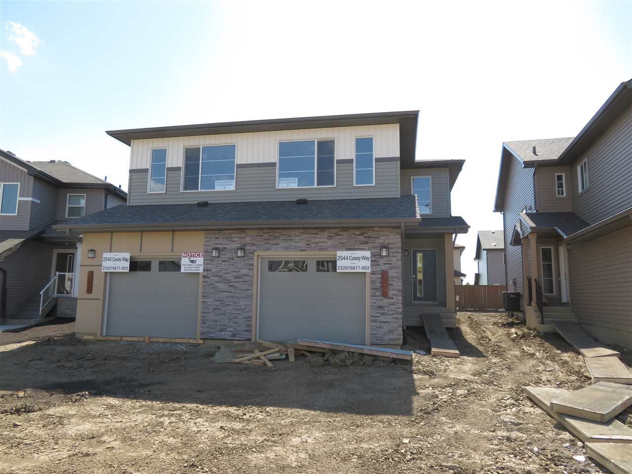 Main Photo: 2544 CASEY Way in Edmonton: Zone 55 House Half Duplex for sale : MLS®# E4126436