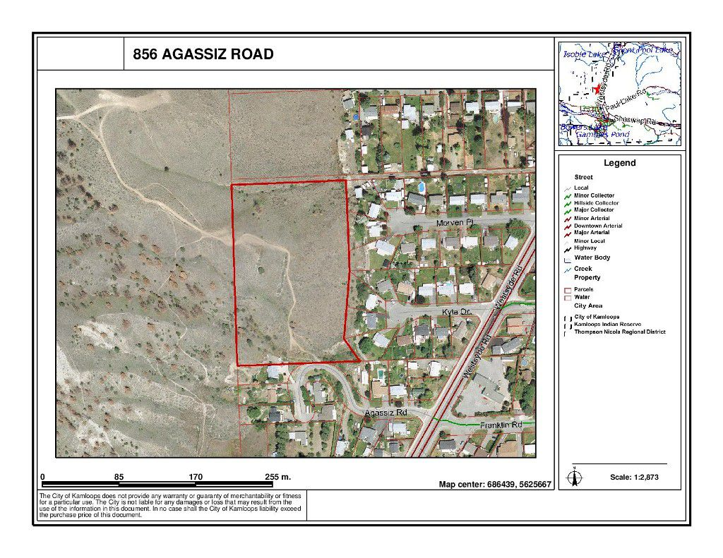 Main Photo: 856 Agassiz Road in Kamloops: Westsyde Land Only for sale : MLS®# 114172