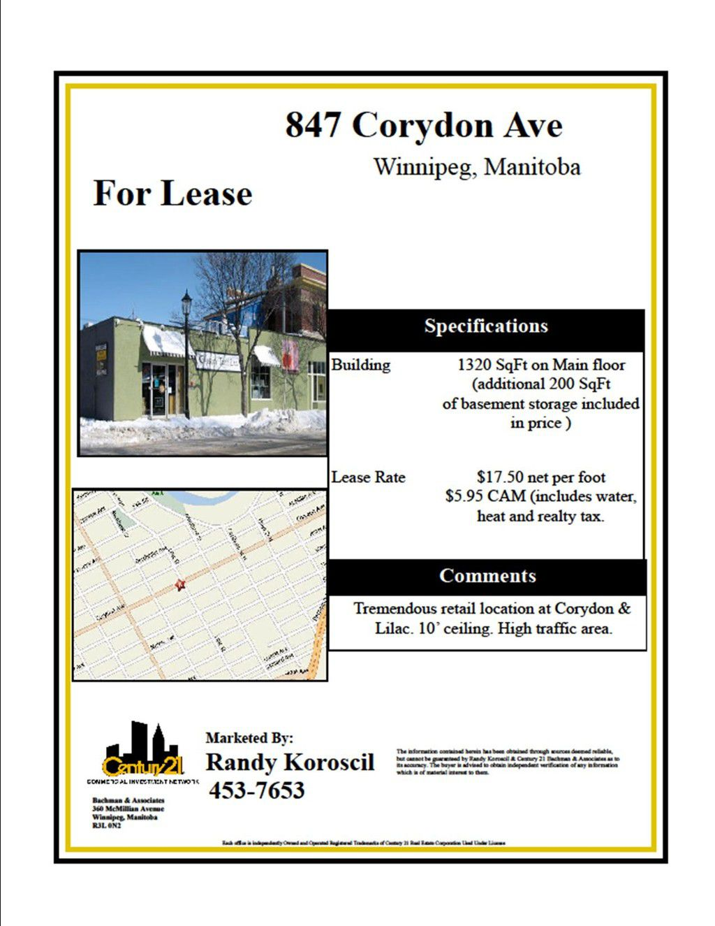 Main Photo: 847 Corydon Avenue in Winnipeg: Fort Rouge / Crescentwood / Riverview Industrial / Commercial / Investment for sale or lease (South Winnipeg)