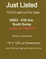 Main Photo: 16653 31B Avenue in Surrey: Grandview Surrey Land for sale (South Surrey White Rock)  : MLS®# R2390643