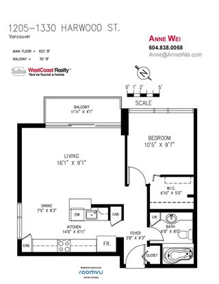 """Photo 11: 1205 1330 HARWOOD Street in Vancouver: West End VW Condo for sale in """"Westsea Towers"""" (Vancouver West)  : MLS®# R2468963"""