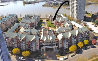 "Photo 1: 109 1230 QUAYSIDE Drive in New Westminster: Quay Condo for sale in ""Tiffany Shores"" : MLS®# R2406017"