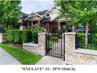 """Photo 1: 2 2979 156TH Street in Surrey: Grandview Surrey Townhouse for sale in """"ENCLAVE"""" (South Surrey White Rock)  : MLS®# F1412951"""