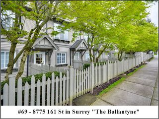 "Photo 1: 69 8775 161ST Street in Surrey: Fleetwood Tynehead Townhouse for sale in ""THE BALLANTYNE"" : MLS®# F1409288"