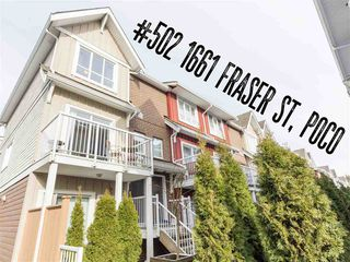 """Photo 1: 502 1661 FRASER Avenue in Port Coquitlam: Glenwood PQ Townhouse for sale in """"Brimley Mews"""" : MLS®# R2340720"""