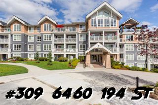 "Main Photo: 309 6460 194 Street in Surrey: Clayton Condo for sale in ""WATERSTONE"" (Cloverdale)  : MLS®# R2371562"